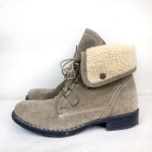 Diba Gray suede and sherpa lined ankle boots
